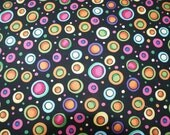 Fabric by the yard,Multi Color Fabric,Circles on Fabric,Quilting Fabric,Sewing Fabric,Fabric supplies,Craft and supplies,Tool and supplies