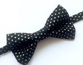 Little Guy BOW TIE - Black Gold and Silver Holiday Collection - Black and Gold Polka Dot (18 months- 3T) - (Ready to Ship) Christmas