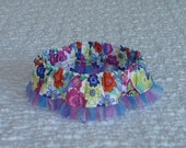 "Pink and Blue Floral Dog Scrunchie Collar with pleated organza ruffle - Size M: 14"" to 16"" neck"
