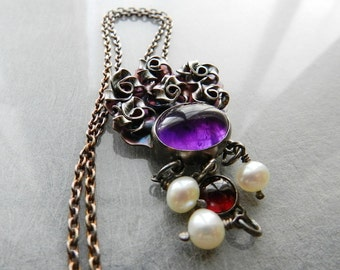 """Amethyst Necklace, Garnet Pearls Roses Pendant, Purple Stone Statement Necklace in Oxidized Silver, 20"""" Sterling Chain, Romantic Style"""