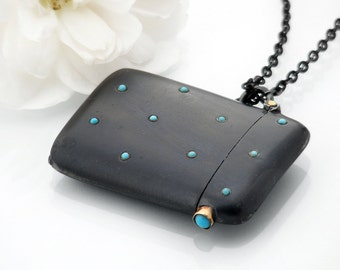 RESERVED FOR B - Gunmetal Black Vesta Case Studded with Turquoise Cabochons | Antique Vesta Locket - 36 Inch Long Black Chain