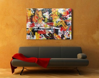 Original Abstract Painting Acrylic Textured Impressionist Modern Contemporary Loft Black White Red Yellow  24x30x1.5 Len Dickson