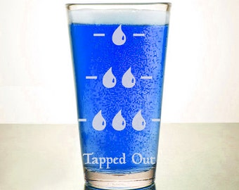 Tapped Out - Magic Inspired - Etched Pint Glass - Blue Mana Drinkware - Etched Barware - Game Night - MTG - Island