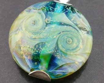 Seascape Lentil Bead Pendant, Artisan, Handmade, Lampwork