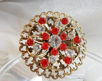 FALL SALE Vintage Rhinestone Brooch. Red Clear Rhinestones.  Pressed Brass Pin.