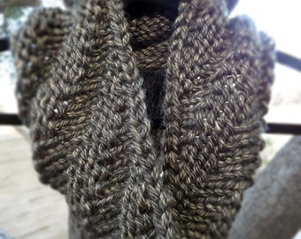 Olive green hand knit infinity cowl scarf