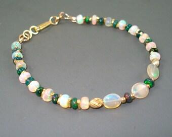 Opal Bracelet, Small Fiery Ethiopian Fire Opals and Gold Fill Bracelet, Tennis Bracelet, Opal Jewelry