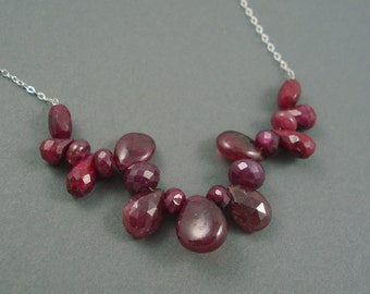 Natural RUBY Teardrop Necklace with  Sterling Silver, Jewelry Necklace