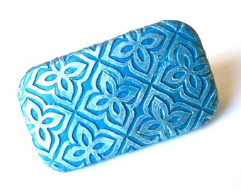 Metal Pill Box Teal and Silvery Blue Floral tile pattern Perfect purse accessory case Unique handmade gift FREE gray velvet drawstring pouch