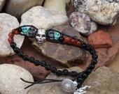 The Badlands -Leather, Hematite and Gemstone Skull Concept Bracelet