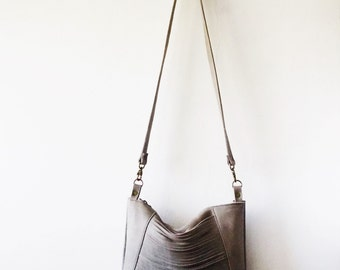 Gray  leather bag, Every day purse , Cross-body bag