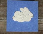 hand-dyed square indigo hand-bound journal with wool felt animal: rabbit by kata golda