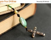 VALENTINE SALE Green and Gold Christian Bookmark. Beaded Bookmark. Christian Cross Bookmark. Gold Filigree Cross Book Thong. Sage Green Book