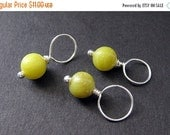 VALENTINE SALE Jade Stitch Markers in Green Jade and Silver - 10mm Size. Handmade Stitch Markers by Gilliauna