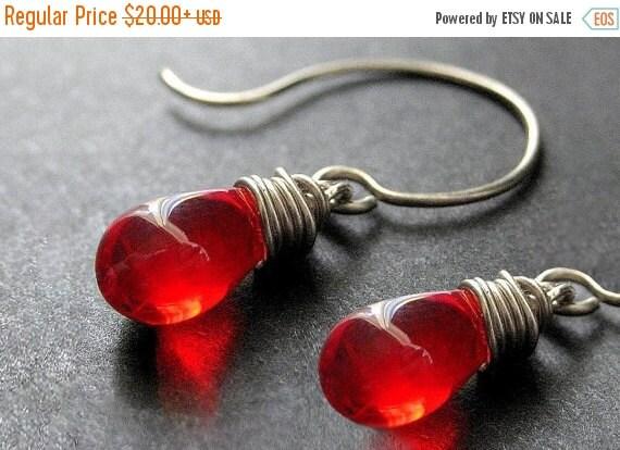 HALLOWEEN SALE Wire Wrapped Earrings - Teardrop Earrings in Red and Silver - Elixir of Blood. Handmade Earrings.