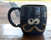 Mustache Mug Gifts for Him. Man's Coffee Cup in Blue. Hot Tea Mug. Funny Guy's Face Mug. Stoneware Pottery. Mustache Lover Gifts.