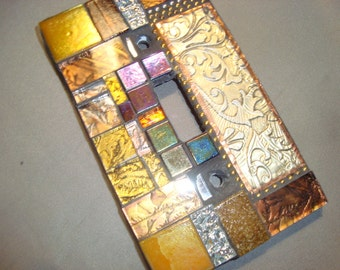 MOSAIC LIGHT SWITCH Plate Cover - Single,  Wall Plate, Home Decor, Gold, Silver