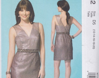 McCall's Pattern M7282 Phoebe Couture Lined Dress Has Wide Sheer Straps, V-Neck, Princess Seamed Bodice, Trim at Waist Misses' Sizes 12-20