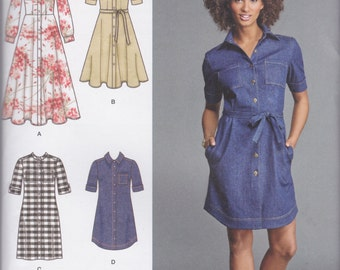 Simplicity Pattern 8014 Shirtwaist Dresses in Four Styles with Collar, Sleeve, Skirt & Hemline Variations  Misses'/Miss Petite Sizes 16 - 24