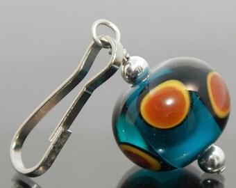 Zipper Pull, teal, yellow, brown, black, dots, zipper pulls for purses, zipper pull charm, beaded zipper pull, decorative pull, artisan made