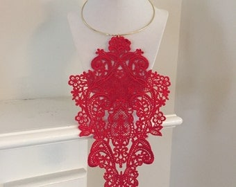 Red venise lace necklace venise lace necklace venice lace necklace lace choker venise lace choker