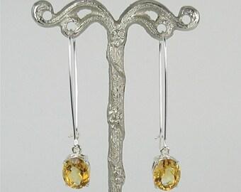 Citrine 10x8mm Dangle Sterling Silver Earrings