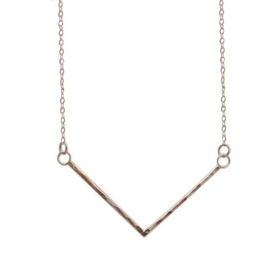 14k gold fill chevron pendant delicate minimalist necklace