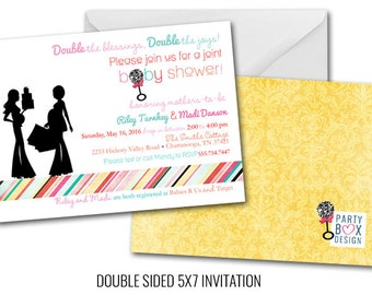 Two Babies Shower Invitation (20 printed 5x7 invites)