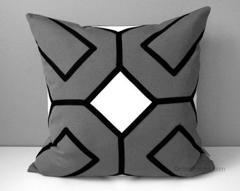 Grey Outdoor Pillow Cover, Decorative Black & White Pillow Cover, Geometric Sunbrella Cushion Cover, Mid Century Modern Pillow, Mazizmuse