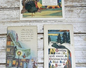 Vintage Postcards, Holiday Postcard Set, Vintage 40s 50s Postcards, Thanksgiving Postcard, Christmas Postcard, After Christmas SALE 50% Off