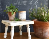 Farmhouse Milking Stool Rustic Stool or Plant Stand Chippy and One of A Kind Square with Turned Legs