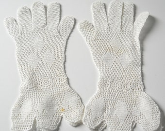 Vintage White Crochet Ladies Gloves • Antique Lace Gloves • Vintage Small Ladies Gloves