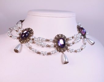 Amethyst and White Boudoir Pearls Choker Renaissance Tudor Necklace