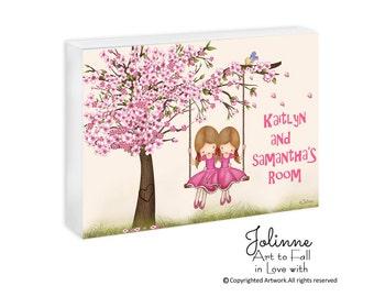 """Personalized door sign for sisters room,kids door sign,cherry blossom sign,Sisters door plaque,custom name sign,wooden door plaque 5""""x7"""""""