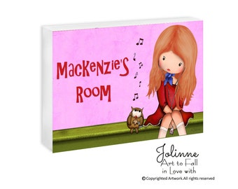 Custom name baby nursery gift pink, Personalized door sign, girls room artwork,children decor,kids door sign,owl door sign, music door sign