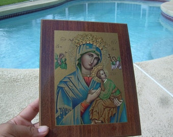 """Old Our Lady of Perpetual Help or Succor, Byzantine Icon Plaque Picture on Wood 9x7"""", Blessed Virgin Mary"""