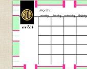 Monogrammed Desk Calendar - Desk Pad Monthly Calendar - TORY Collection by A Blissful Nest - Mint