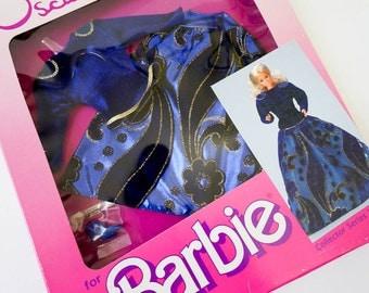 Vintage 1980s Toy Doll Clothes / 1985 Mattel Oscar de la Renta for Barbie Collector Series XII Dress In Box VGC / Blue Gold Ballgown Shoes
