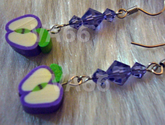 Fun Fruit Earrings Juicy Apple Slice and Swarovski Crystals Purple Earrings for Children, girl, birthday gift etc Fun Gift