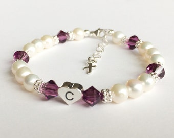 Round Freshwater Pearl and Initial Bracelet First Communion Gift