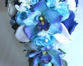 """Reserved listing Wedding flowers silk Bridal bouquet Cascade TURQUOISE NAVY BLUE Orchid Cream Calla Lily 15 piece package """"RosesandDreams"""""""