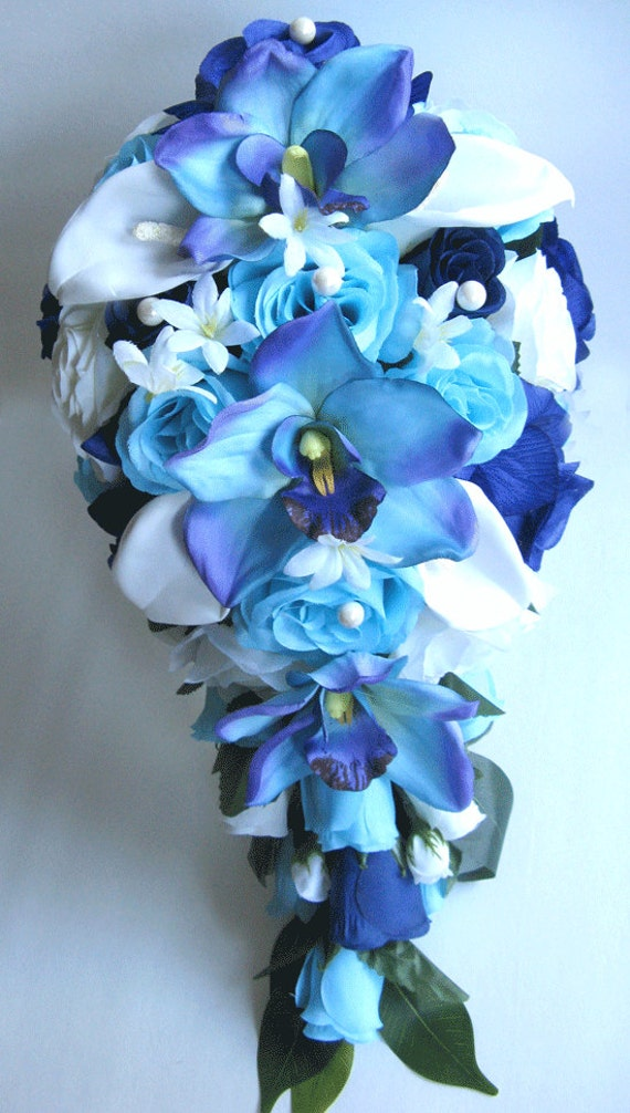 wedding flowers silk bridal bouquet cascade aqua navy blue. Black Bedroom Furniture Sets. Home Design Ideas