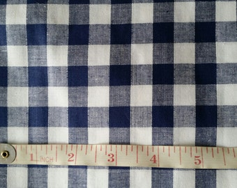 5m Navy and White Gingham Check Quilting Fabric