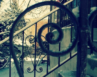 heart photo, spiral ironwork railing, front porch, Chicago Photo, snow, winter, scrollwork, Chicago Photography, Chicago Art, Mid Century