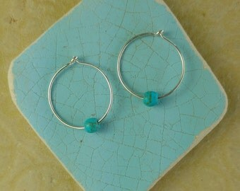 FULL CIRCLE Hoop Earrings in Sterling Silver with Blue Magnesite Beads, Yoga Inspired Jewelry, Sterling Silver Hoop Earrings (#036)