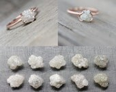 Rough Diamond Rose Gold Engagement Ring Pale Gray Pink Milgrain Made To Order Choose Your Diamond - Cloud Grabber