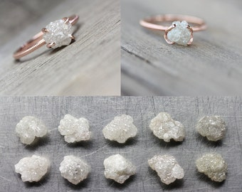 Rough Diamond 14K Rose Gold Engagement Ring Pale Gray Pink Milgrain Made To Order Choose Your Diamond Romantic Bridal Band - Cloud Grabber