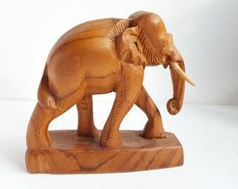 Elephant Figurine, Hand Carved Wood, Mid Century Modern, Bookshelf Desk Accessory, Wooden Animal Statue, Lucky Elephant, House Warming Gift