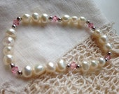 Freshwater pearls and pink crystal bracelet