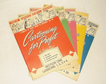 Vintage 1947 CARTOONING FOR PROFIT by David Rand • lot of 6 Books